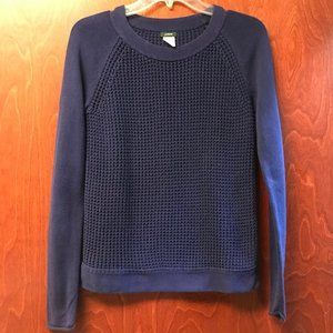 J Crew Knit Cotton Sweater Navy Blue
